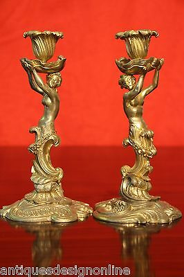 Antique French rococo gold gilt bronze ormolu candlesticks Louis XV caryatid