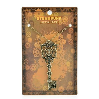 Gothic Punk Key Shaped Chain Gear Pendant Steampunk Necklace for Unisex