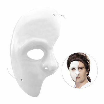 Half Face Phantom of the Opera Venetian Masquerade Party Theatrical White Mask