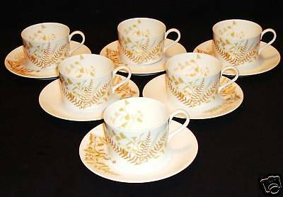 """Set Of 6 Beautiful Mikasa Cups & Saucers """"lacy Fern"""""""