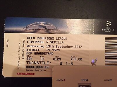 Liverpool v Sevilla  13/09/2017 Match Ticket Kop End
