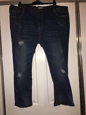 New Asos Curve Brand Alice And You Distressed Boyfriend Jean Size 24