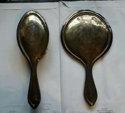 Vintage Antique Silver Brush And Mirror Set