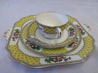 Rare Antique Aynsley Normandy 4 Pc Tea Set: Cup, Saucer & Side Plate, Cake Plate