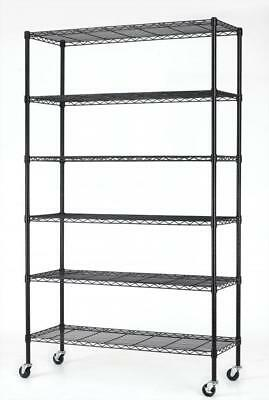 "82""x48""x18"" 6 Tier Layer Shelf Adjustable Wire Metal Shelving Rack 76 BLACK"