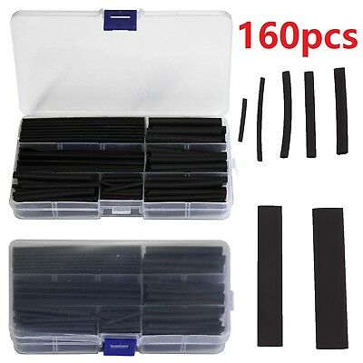 UK 160 Pcs Car Heat Black Shrink Wire Cable Tubing Tube Sleeving Sleeve Wrap New