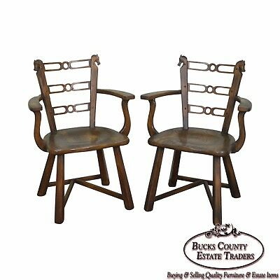 Romweber Viking Oak Vintage Pair of Horsehead Arm Chairs