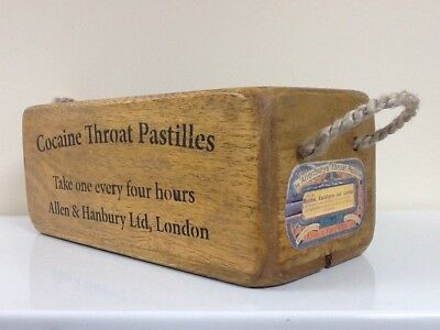Cocaine Throat Pastilles Vintage Style Wooden Storage Crate. Antiqued Style Box