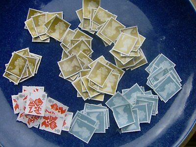 100 Assorted unfranked 1st Class  Gold, Silver & Olympic Stamps Off Paper No Gum
