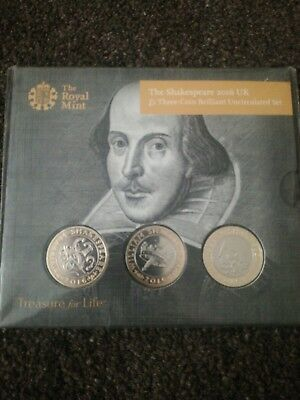 william shakespeare £2 three coin brilliant uncirculated set 2 pound coins 2016.