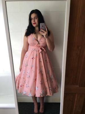 Pink and Red Bird Print 50's Swing Dress. Vintage Style Rockabilly BNWT