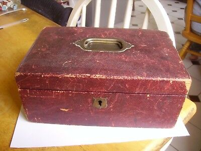 Antique Victorian leather clad Jewellery box  dating late 1880s onwards.