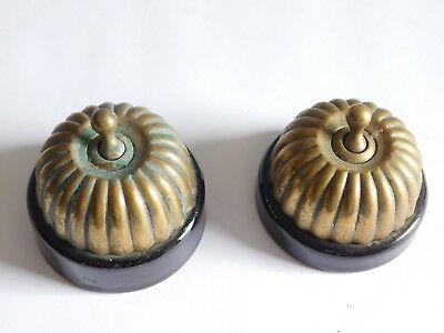 Two vintage porcelian and brass electric light switches