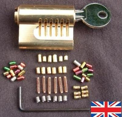 CUTAWAY 6 PIN RE-PINNABLE EURO PRACTICE LOCK with 30 extra pins...  British Made