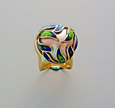 Unusual 18K Gold Signed Cellino Blue And Green Enamel Ring 16.0 Mm Mabe Pearl