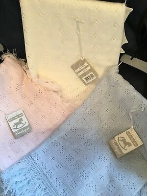 Newborn Baby Boys Girls Shawl Blanket Very Fine Knitted Ivory Pink Blue Large