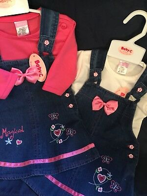 Baby Girls Denim Embroidered Pinafore Dress Pink or Ivory 0-3 3-6 6-9 Mths