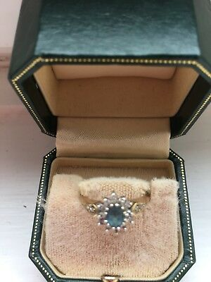9 Ct Yellow Gold Diamond & Aquamarine Cluster Ring