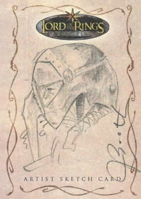 Lord of Rings Evolution Sketch Card by Joseph Booth Sam in Helmet