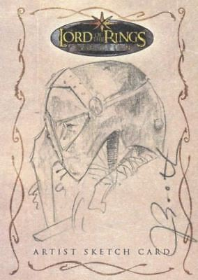 Lord of the Rings Evolution Sketch Card by Joseph Booth Sam in Helmet