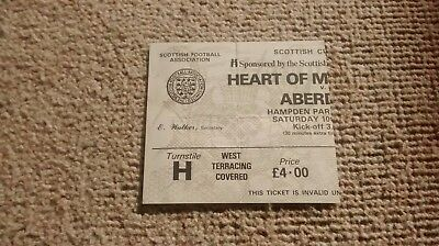 1986 ABERDEEN v HEARTS TICKET SCOTTISH CUP FINAL 10/05/86 AFC HMFC DONS