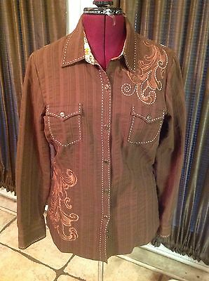 Western Show Top For Ranch Horse Roper Sz L Brown