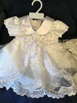 Baby Girls Christening Dress Party Dress Embroidered Ivory Satin Bloomers Bonnet