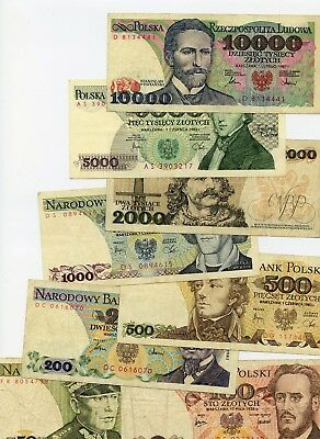 POLAND - 8 BANKNOTES - 10000 - 50 ZLOTYCH - 1970's - 80's