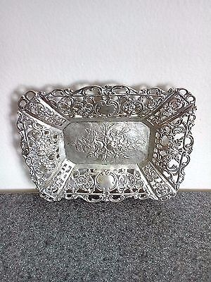 Antique Ornate 800 Silver Art Nouveau  Trinket Tray