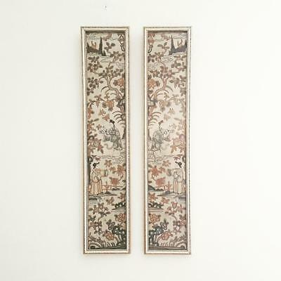 Antique Chinese Framed Pair of Qing Dynasty Forbidden Stitch Sleeve Panels