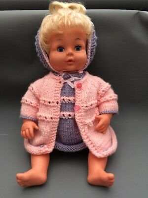 """Vintage Palitoy Tiny Tears Top Knot 15"""" Doll With Knitted Outfit Clothes."""