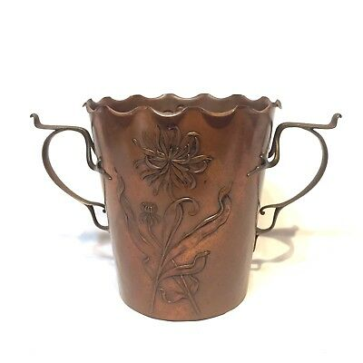 Carl Deffner Hammered Copper Brass Secessionist Jardiniere c19th