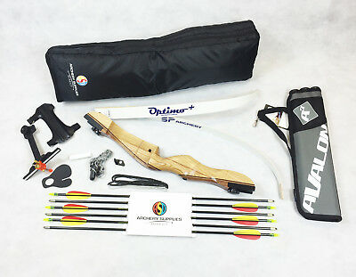 Mens Archery Wooden Recurve Bow Package With Arrows, Sight, Case & lots more