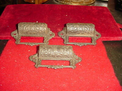 vintage lot of 3 cast iron drawer pulls estate as found