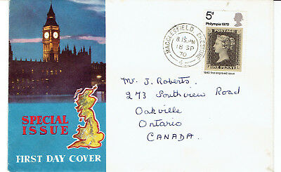 1970 U.K. 5d Philympia Single First Day Cover FDC to Canada Unusual Cachet