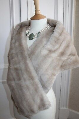 Vintage Faux Mink Fur Stole Cape / Bolero Style Silver Cream Bride Wedding