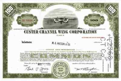 CUSTER Channel Wing Maryland Reading 1968/69 CCW-5 TOP Common Stock 100 Shares