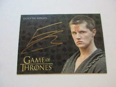Game of Thrones Valyrian Steel Eugene Simon as Lancel Lannister GOLD Autograph