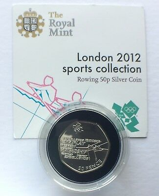 50P Fifty Pence 2011 Silver BUNC, LONDON OLYMPICS 2012 Rowing, Royal Mint