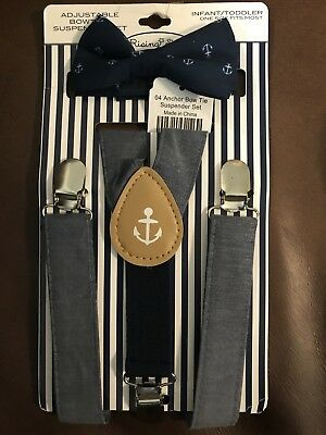 NWT Rising Star Infant/Toddler Adjustable Bowtie & Suspender Set Sailor Nautical