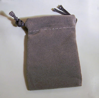 "25 Small Gray Jewelry Velveteen Drawstring Pouches 2"" x 3"""