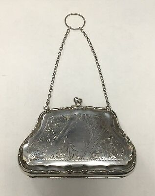 Beautiful antique English hallmarked silver finger purse 93.1g