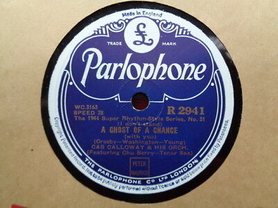 CAB CALLOWAY - A Ghost Of A Chance / Willow Weep For Me 78 rpm disc (A++)