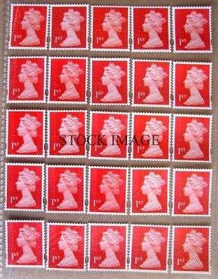 Lot of 25 Unfranked Red 1st class Stamps off paper with gum FV £16.25