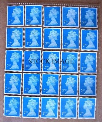 Lot of 25 Unfranked 2nd class Stamps off paper With Gum - FV £14.00