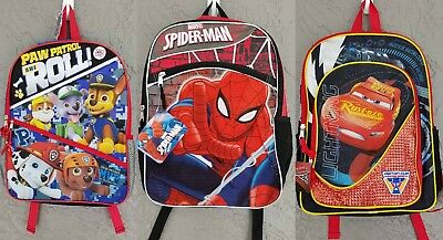 NEW Marvel Spiderman Nickelodeon Paw Patrol or Disney Cars Backpack 16 x 12 Boys