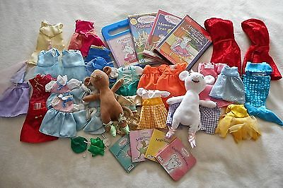 Angelina Ballerina & Alice 2 Toy Dolls/mice +30 Pieces Of Clothing/4 Dvd/4 Books