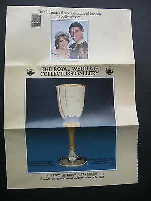 St Jame's House Royal Wedding Silver Goblet BROCHURE