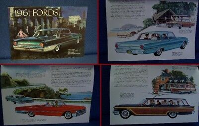 1961 FORD Automobile PRESTIGE Color Sales Brochure - MINT New Old Stock