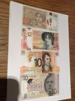 Polymer £10 All 4 Banks In Uncirculated Condition
